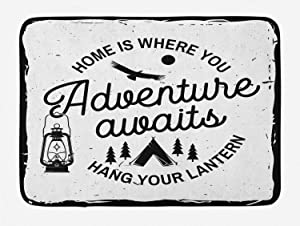 Ambesonne Saying Bath Mat, Home is Where You Hang Your Lantern Typography with a Tent and Trees Camping, Plush Bathroom Decor Mat with Non Slip Backing, 29.5