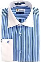 Labiyeur Men's Slim Fit French Cuff Striped Dress Shirt