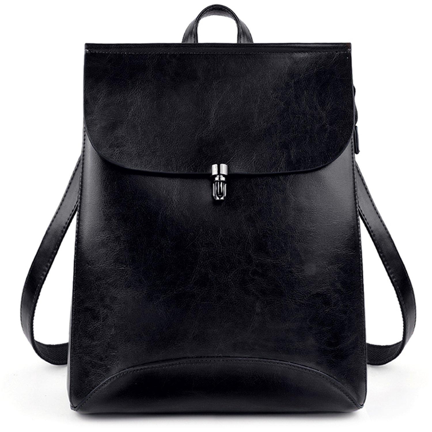 UTO Women's Pu Leather Backpack Purse Ladies Casual Shoulder Bag School Bag for Girls Large Black CA 18000441-1ca
