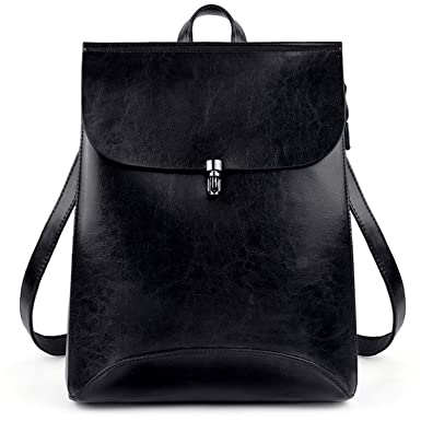 UTO Women s Pu Leather Backpack Purse Ladies Casual Shoulder Bag School Bag  for Girls Large Black ee7cc737e9dc6
