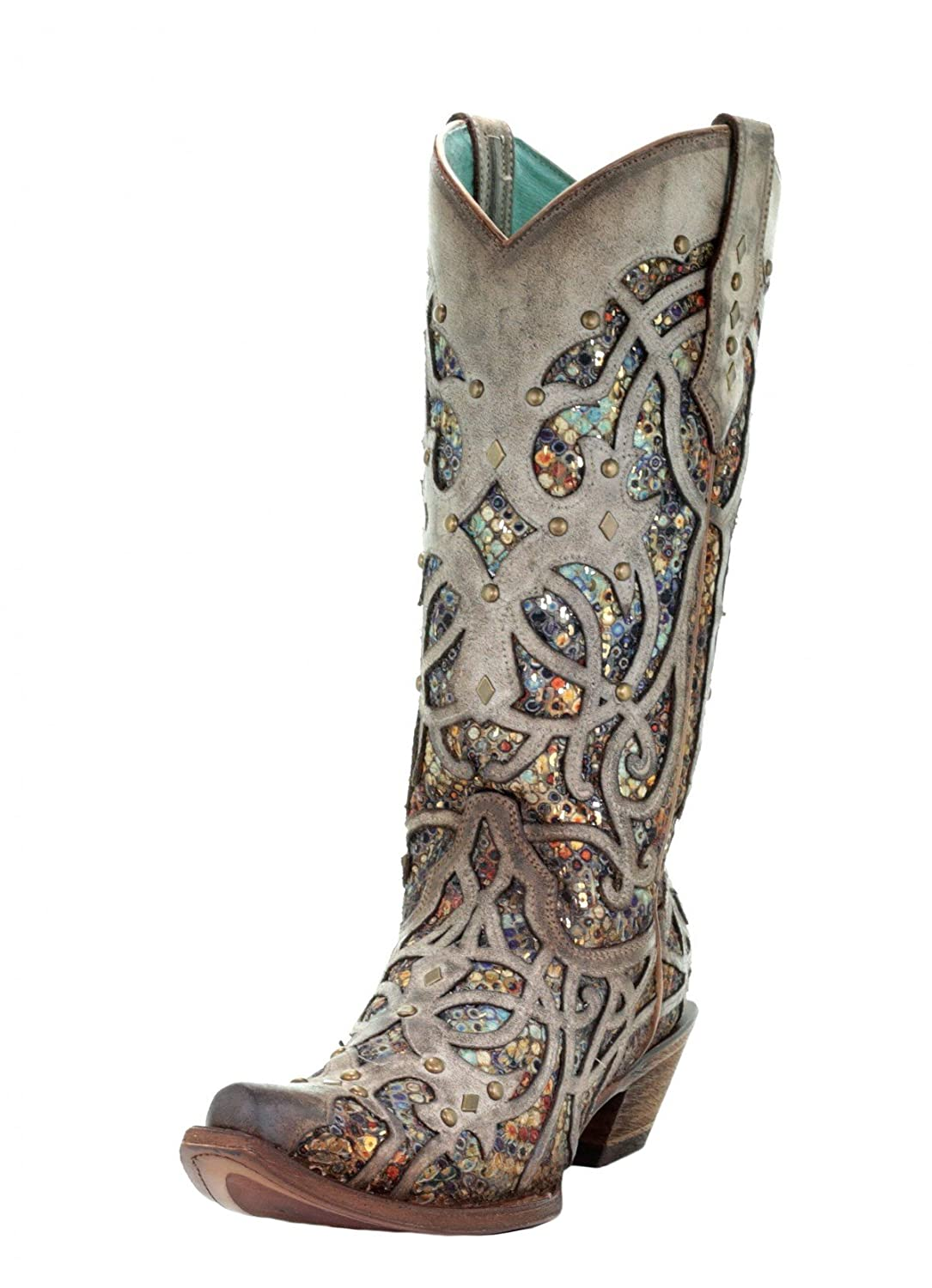 CORRAL C3409 Taupe Multicolor Inlay and Studs Boots B07FDH115C 9.5 M US