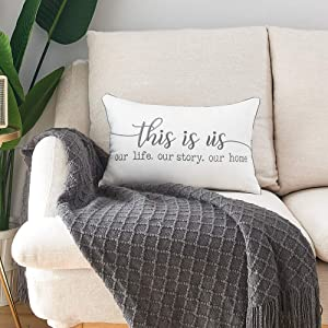 Sunkifover Lumber Pillow Covers with This is Us Quote 12 X 20 Inches, Farmhouse Embroidery Pillow Case Cushion Cover with Saying for Sofa, Bed, Bedroom, Living Room.
