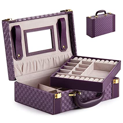Joyero Caja Joyero Caja de Joyas Organizador de Joyas Estuche Rectangular para Guardar Joyas con Espejo y Cerradura, Caja de joyería de Viaje Usado ...