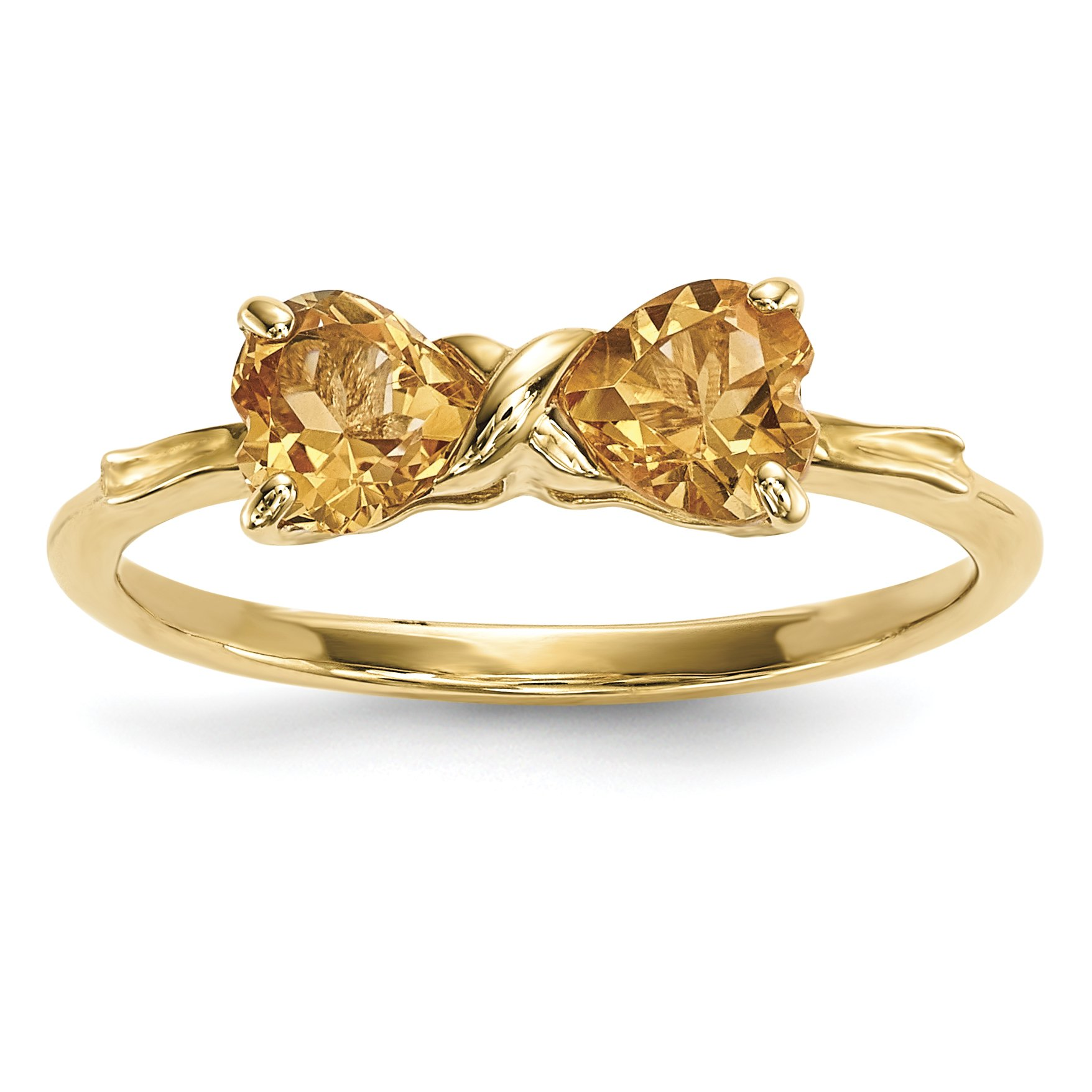 ICE CARATS 14k Yellow Gold Citrine Bow Band Ring Size 7.00 Birthstone November Set Style Fine Jewelry Gift Set For Women Heart