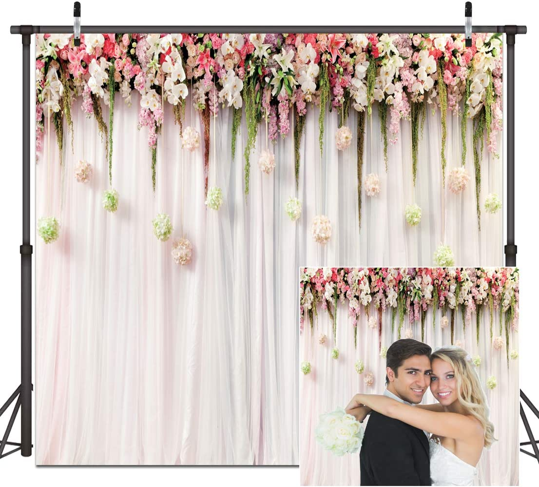 8x8FT Vinyl Photography Backdrop,Dahlia Flower,Romantic Bouquet Background for Selfie Birthday Party Pictures Photo Booth Shoot