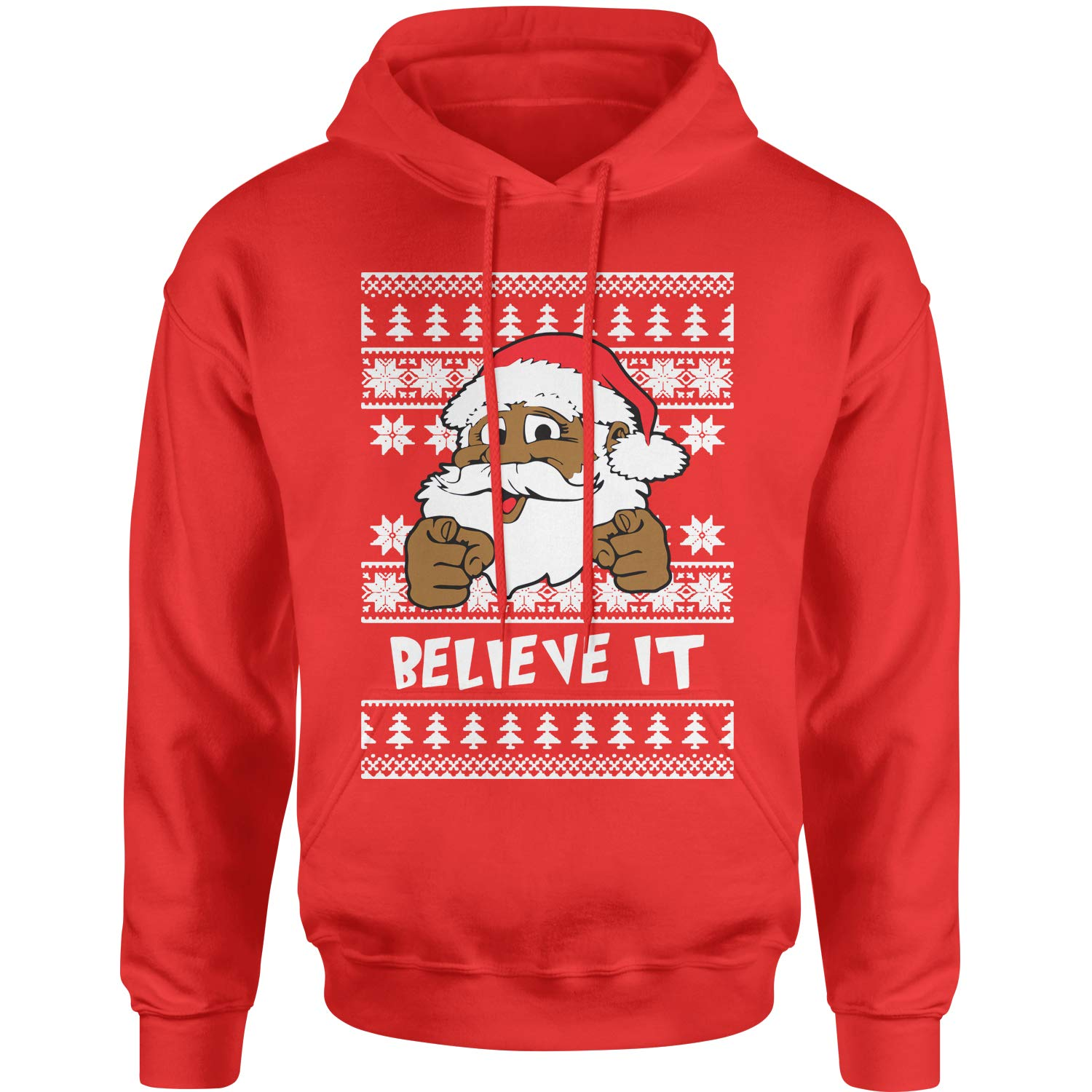 Motivated Culture Believe It Black Santa Clause Ugly Christmas Adult Unisex Hoodie