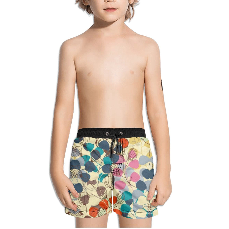 Ouxioaz Boys Swim Trunk Watercolor Leaves Colorful Art Beach Board Shorts