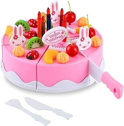 Fantastic Amazon Com Funmily Birthday Cake Cutting Toy Pretend Play Food Funny Birthday Cards Online Drosicarndamsfinfo