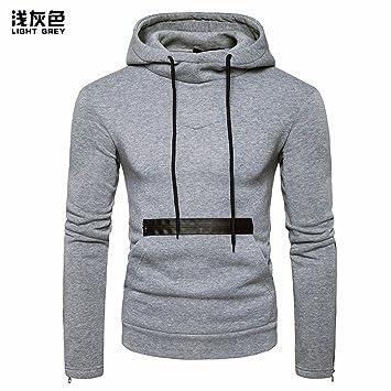 Durante la Primavera y el otoño, los Hombres Incluso Cap Grandes Bolsas de la versión Coreana Pullover Chaqueta Personalizada Sudaderas,Gris,l: Amazon.es: ...