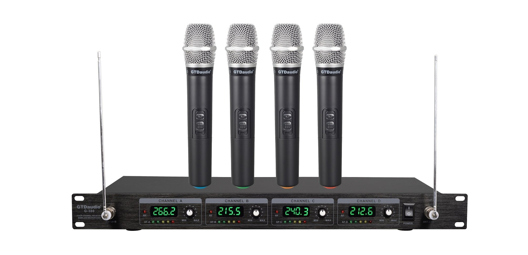 GTD Audio G-380H VHF Wireless Microphone System with 4 Hand held mics ( Frequency: set: 2 )