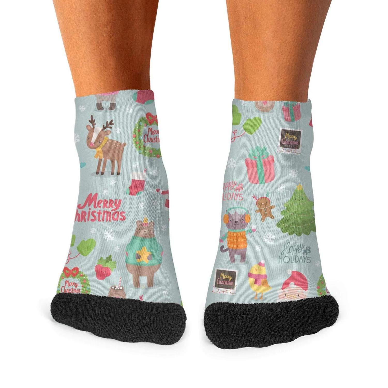 Mens athletic low cut Ankle sock Kawaii Christmas Holiday Santa Tree Snow Short Outdoor Sock