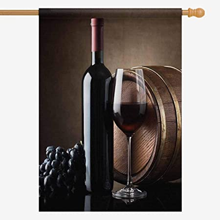 Amazon Com Interestprint Funny Red Wine Bottle Grapes And Wooden Barrel House Flag Decorative For Garden And Home Decorations Oxford Cloth House Banner 28 X 40 Inches Without Flagpole Garden Outdoor