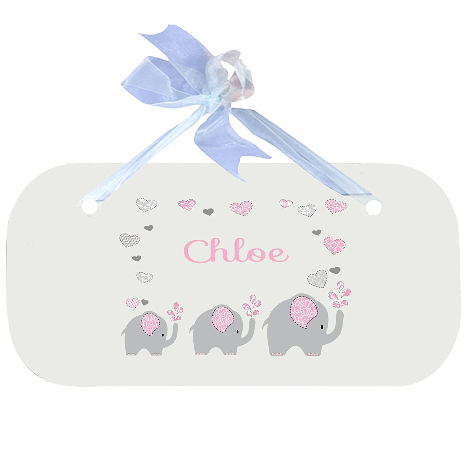Personalized Pink Elephant Nursery Door Hanger Plaque with blue ribbon MyBambino