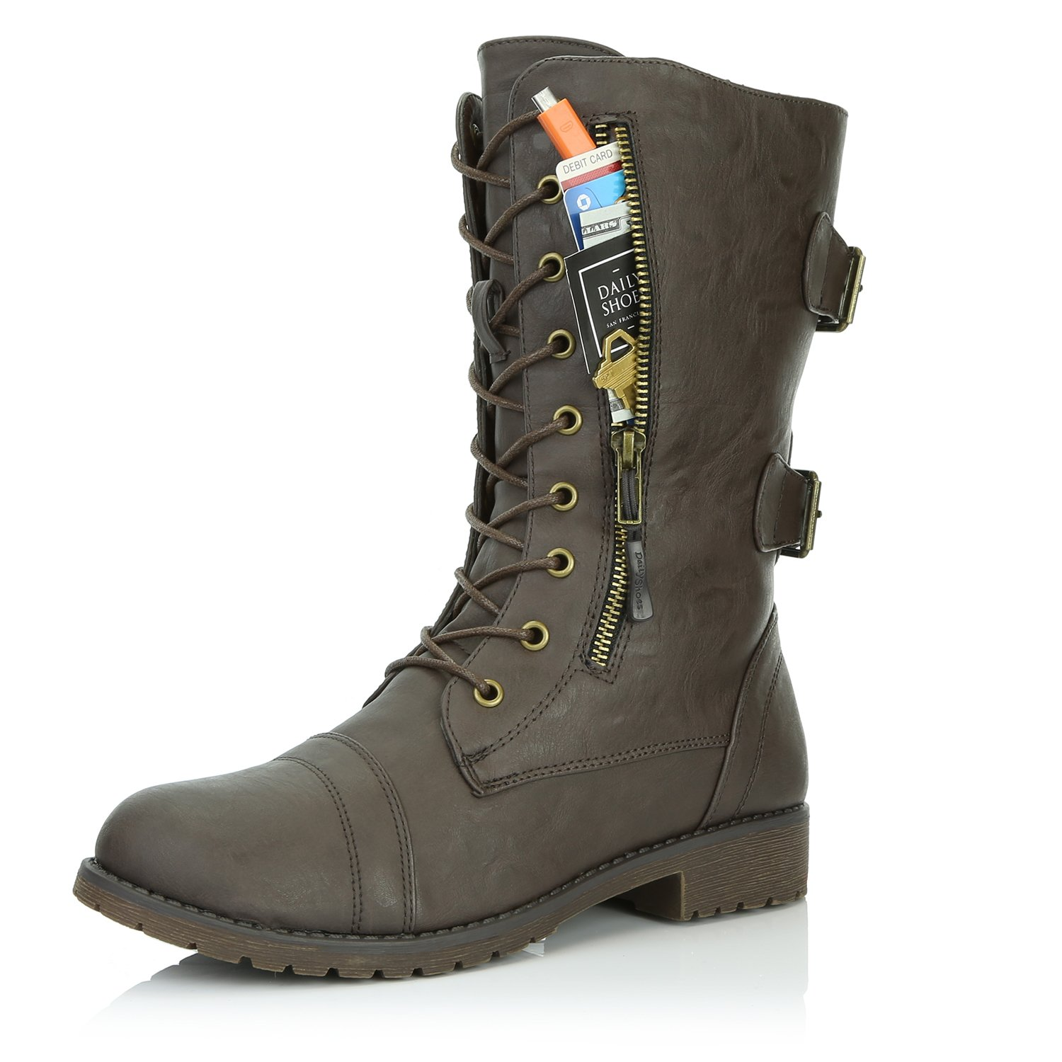 DailyShoes Women's Military Lace Up Buckle Combat Boots Mid Knee High Exclusive Credit Card Pocket, Brown Pu, 7.5 B(M)
