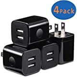 X-EDITION USB Wall Charger, 4-Pack Dual Port USB 2.1Amp Wall Charger Plug Power Adapter Charging Block Cube for iPhone X/8/7/6 Plus, iPad, Samsung Galaxy S9/S8/S7/S6 Edge, LG, ZTE, Motorola (Black)