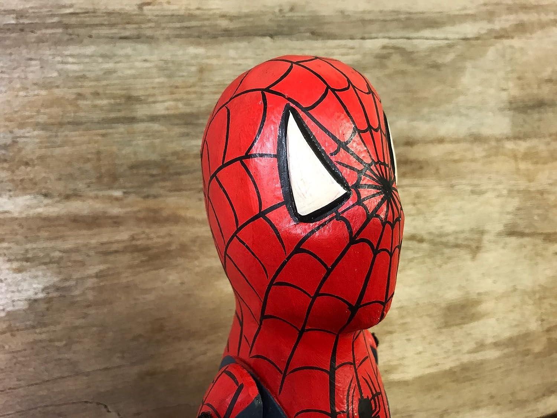 Spiderman héroe de cómic Marioneta Mano Tallada De Madera Sentado Adorno 3 Tamaños