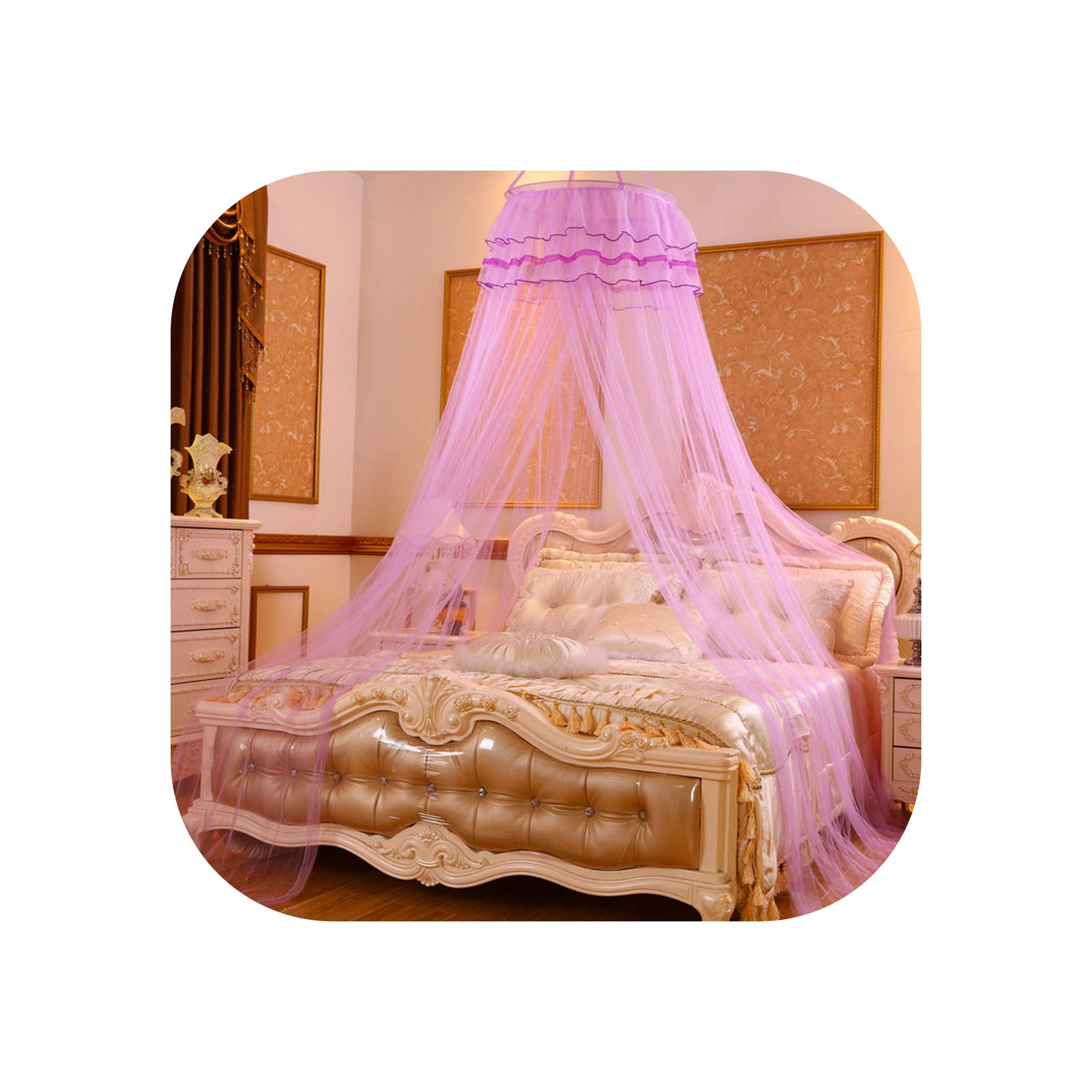Children Bedroom Decor Mosquito Net European Romantic Mosquito Netting Circular Single Door Home Bed Tent Mesh 1PC,Purple,1.35m (4.5 feet) Bed
