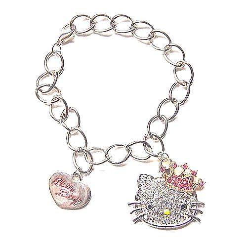 9d7551201744 Pulsera Gourmette Bijoux Argente Hello Kitty corona  Amazon.es  Joyería