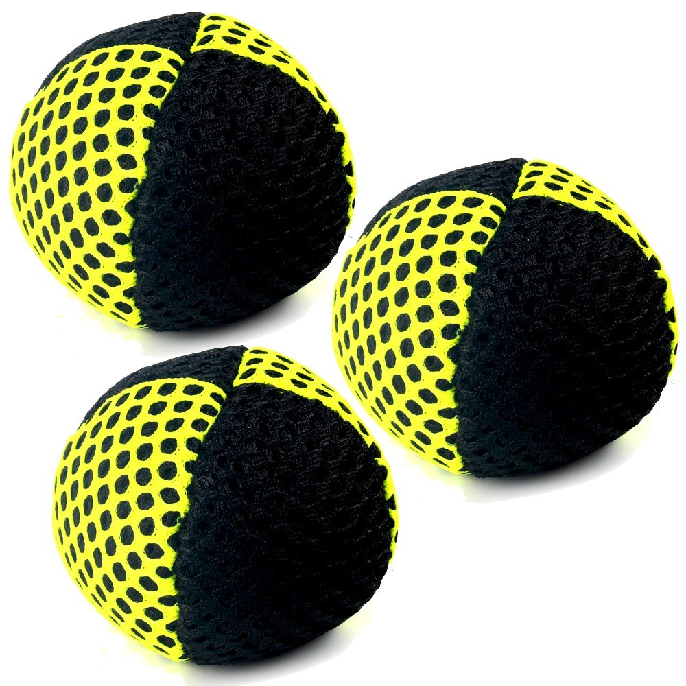 Speevers Xball Juggling/Joggling Balls Professional Set of 3. Fresh Design - 2 Layers of Net. PVC Carry Case. Pick Color, Size, Weight & Density. Choice of The World Champions! (120g Black - Yellow)