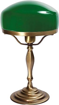 Tischlampe Jugendstil Messing Opalglas Grün Bürolampe Schreibtischlampe Antik