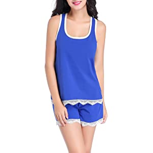 Chamllymers Womens Cotton Sleepwear Set Soft Sleeveless Pajama Sets