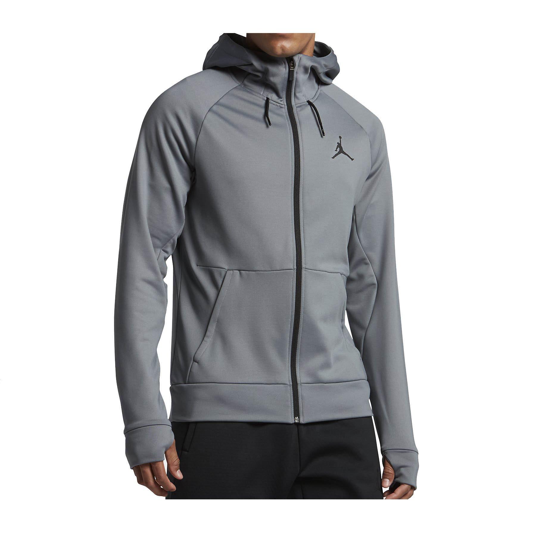 Nike Mens Jordan 360 Fleece Full Zip Hooded Sweatshirt Cool Grey/Black 808690-065 Size 2X-Large by NIKE