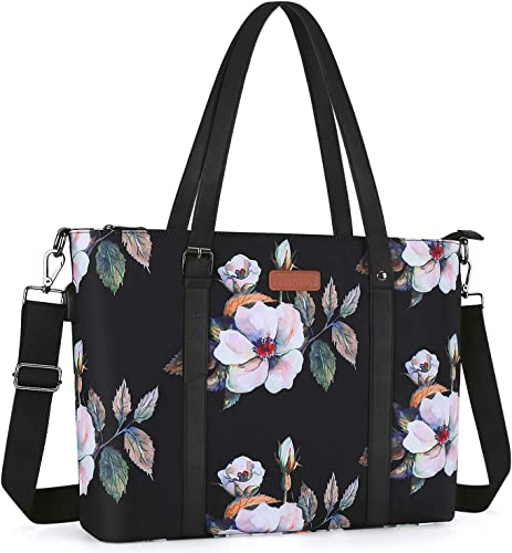 MOSISO USB Port Laptop Tote Bag Up to 17.3 inch with Adjustable Top Handle,Laptop Bag for Women,Water Repellent Polyester Portable Lightweight Work Office Travel Shopping Shoulder Bag,Hibiscus Black