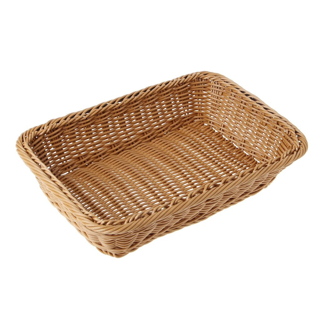 BetterM Square Artificial Rattan Harden Storage Basket, Home Organizer Food Fruit Bins (Large)
