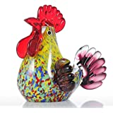 Tooarts Multicolor Rooster Glass Sculpture Crafting Ornament Gift Decoration