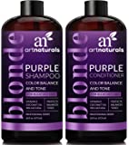 ArtNaturals Purple Shampoo and Conditioner Set – (16 Fl Oz x 2) – Protects, Balances and Tones – Bleached, Color Treated, Silver and Blonde Hair