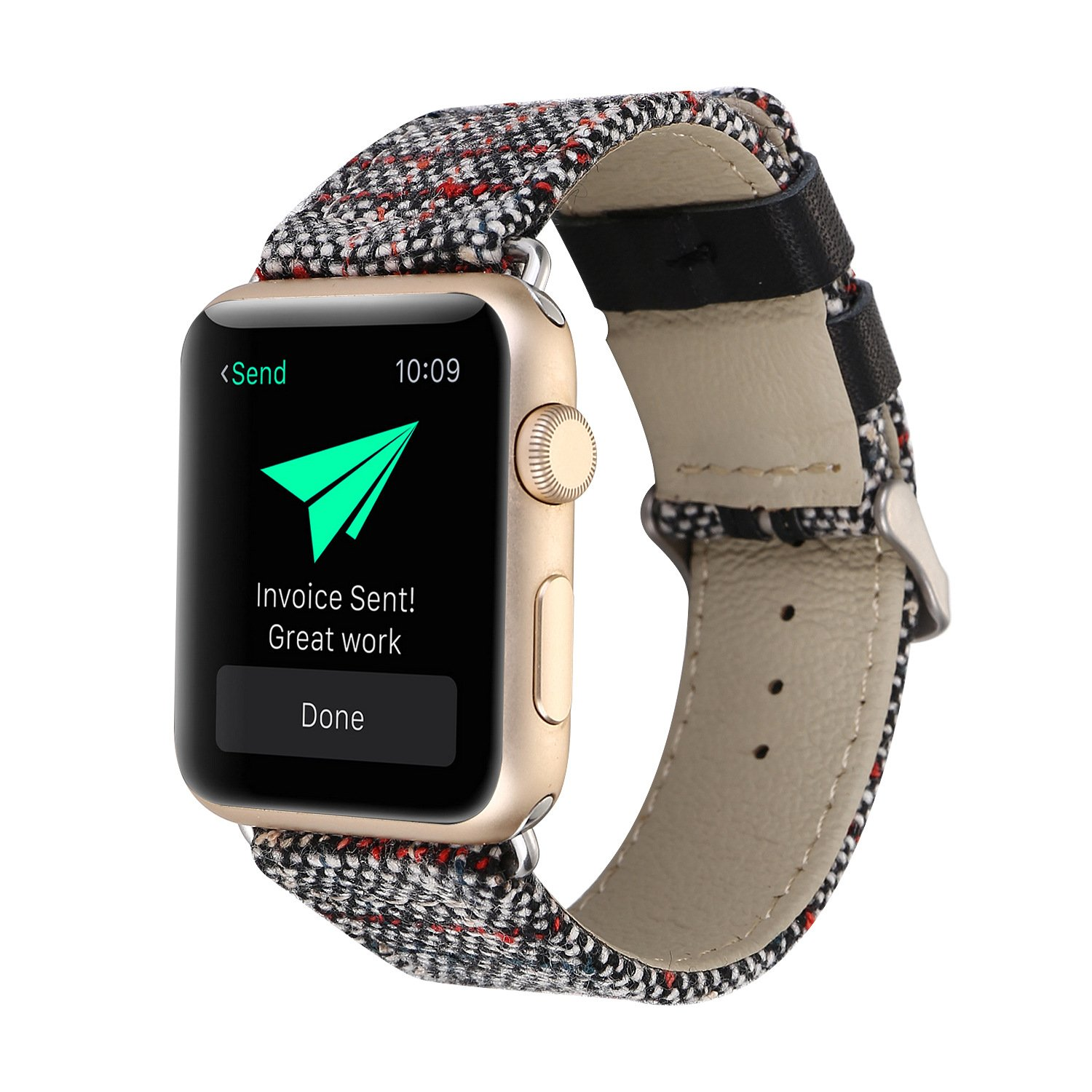 Apple watch cotton linen watch strap genuine leather strap for iwatch 1,2,3 white2 42mm