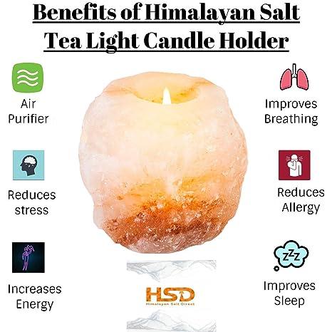 Hsd 100 Himalayan Salt Natural Crystal Rock Tea Light 1 Pc