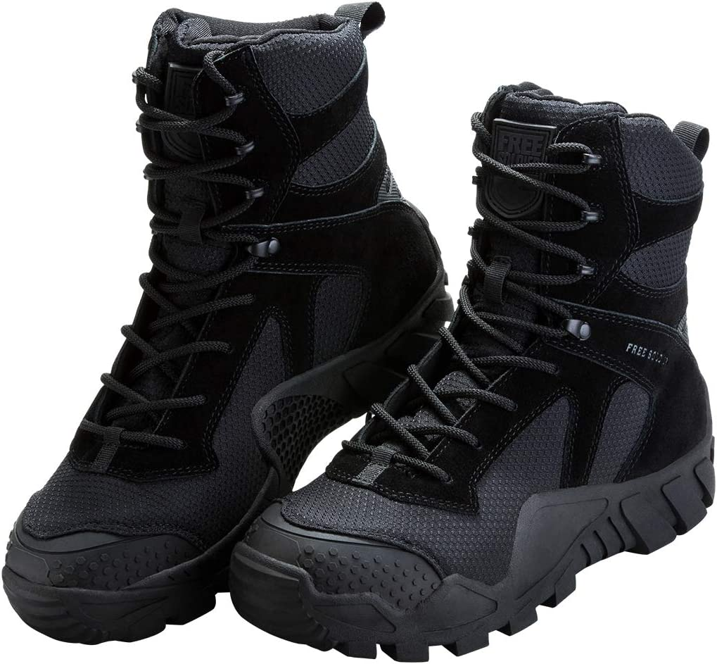 A pair of a tactical boots in black color for men, laces looped and in place, rugged-looking outsoles.