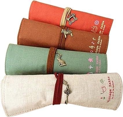 Estuche para plumas y lápices, con forro interior de tela, color marrón, color shape:red …: Amazon.es: Oficina y papelería