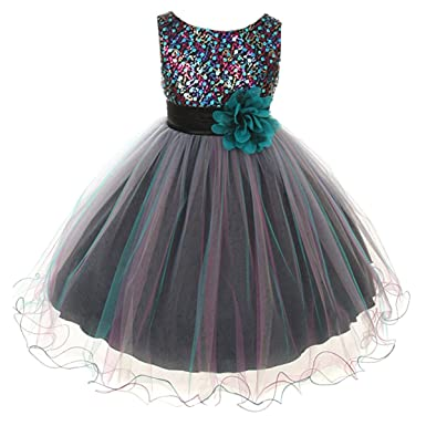 99efe9ecaf Amazon.com: Flower Girls Dress Big Girls' Multi Sequin Beaded Dress Teal  Blue: Clothing