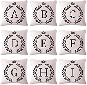 Coliang Letter B Pillow Case, Letter Cushions Cover Blend Cotton English Alphabet Cushion Decorative Pillows Wheat Throw Pillow Cushion 18x18 Inch(45x45CM) - Letter B