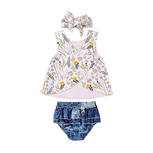 01446458e Amazon.com  3PCS Toddler Baby Girls Suit Set Sleeveless Wideflower ...