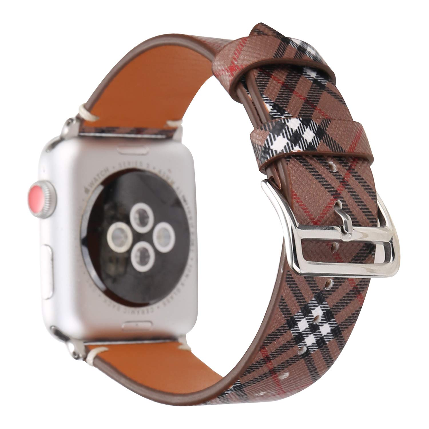 MeShow TCSHOW 38mm Tartan Plaid Style Replacement Strap Wrist Band with Metal Adapter Compatible for Apple Watch Series 3 2 1(Not fit for iWatch 42mm) (R)