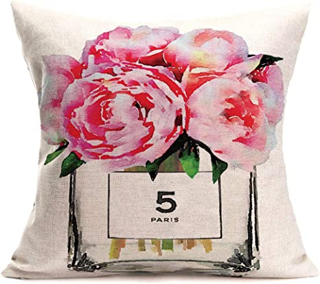 Fukeen Pink Rose Flower Throw Pillow Cushion Cover Modern French Paris Perfume Bottle With Watercolor Floral Bloom Decorative Pillow Cases Home Office Living Room Decor Cotton Linen Pillowslip 18 X18 Home