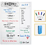 """Magnetic Meal Planner With Grocery List for Refrigerator-Dry Erase Shopping List Board - Weekly Menu Whiteboard for Kitchen Fridge - 12""""x17""""- 4 Markers & Eraser-Family Dinner Board"""