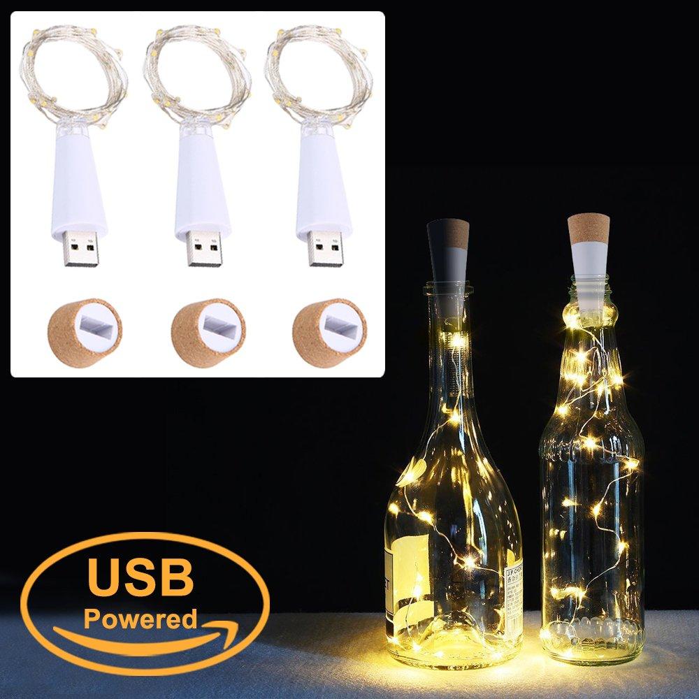 LED Cork Flasche Lichterkett, USB Powered Akku, 1.9 m 20 LEDs ...