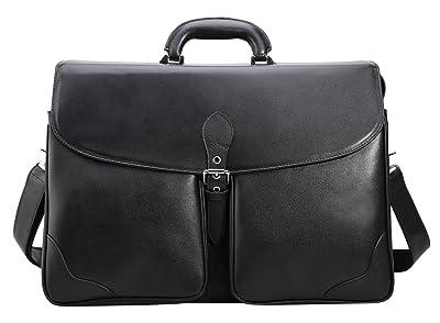 "Polare 17"" Men's Top Quality Soft Real Napa Leather Shoulder Bag Business Laptop Briefcase"
