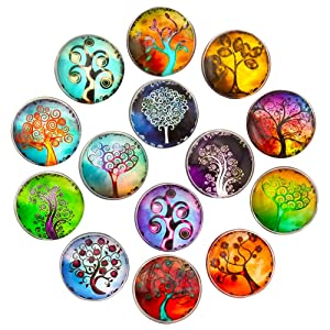 Aligle 14pcs Glass Tree Refrigerator Magnets Beautiful Fridge Funny for Office Cabinets Whiteboards Decorative Photo Gift Button