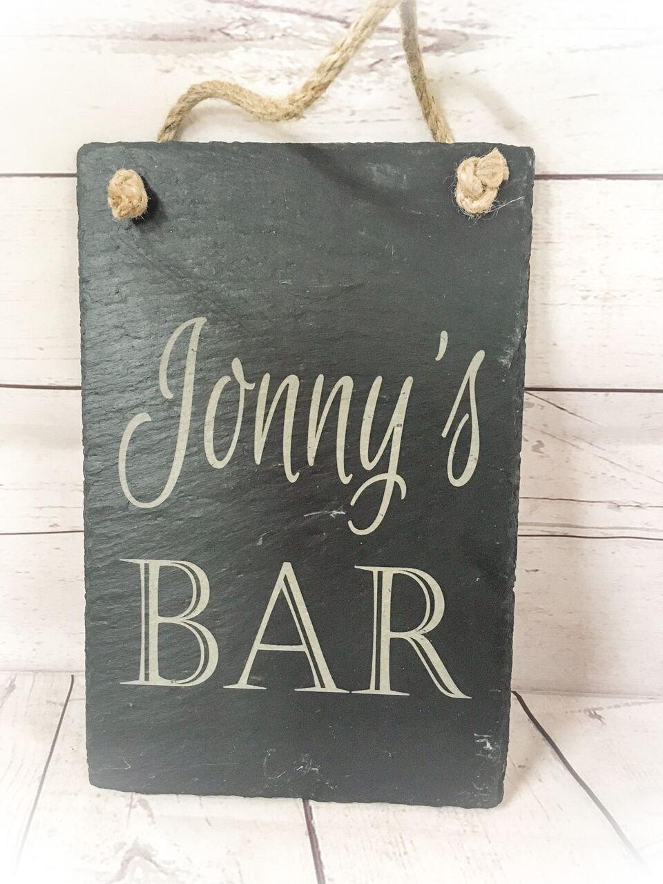 Birthday Bespoke Hanging Slate Sign Personalised Bar Gift Any Engraving