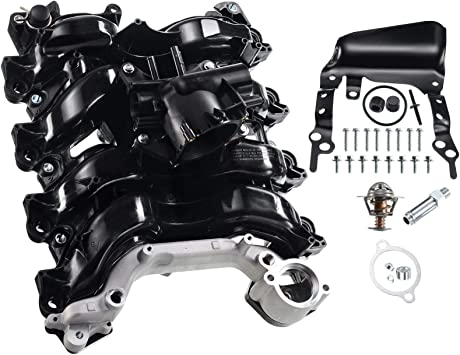 Upper Engine Intake Manifold W// Thermostat /& Gaskets Kit For Ford E250 E150 Lobo