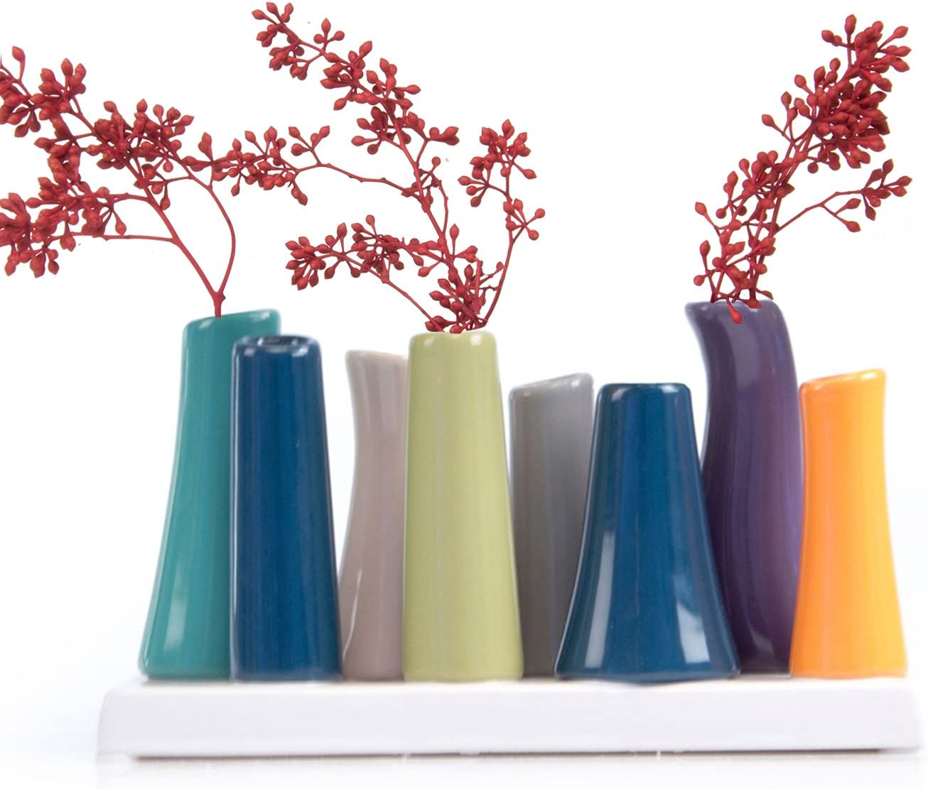 Chive - Pooley 2, Unique Rectangle Ceramic Flower Vase, Small Bud Vase, Decorative Floral Vase for Home Decor, Table Top Centerpieces, Arranging Bouquets, Set of 8 Tubes Connected (Emerald Green Blue)