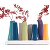 Chive - Pooley 2, Unique Ceramic Flower Vase, Low Rectangular Modern Decorative Vase for Home Decor Living Room Office and Centerpieces, Emerald Green Orange Navy Blue