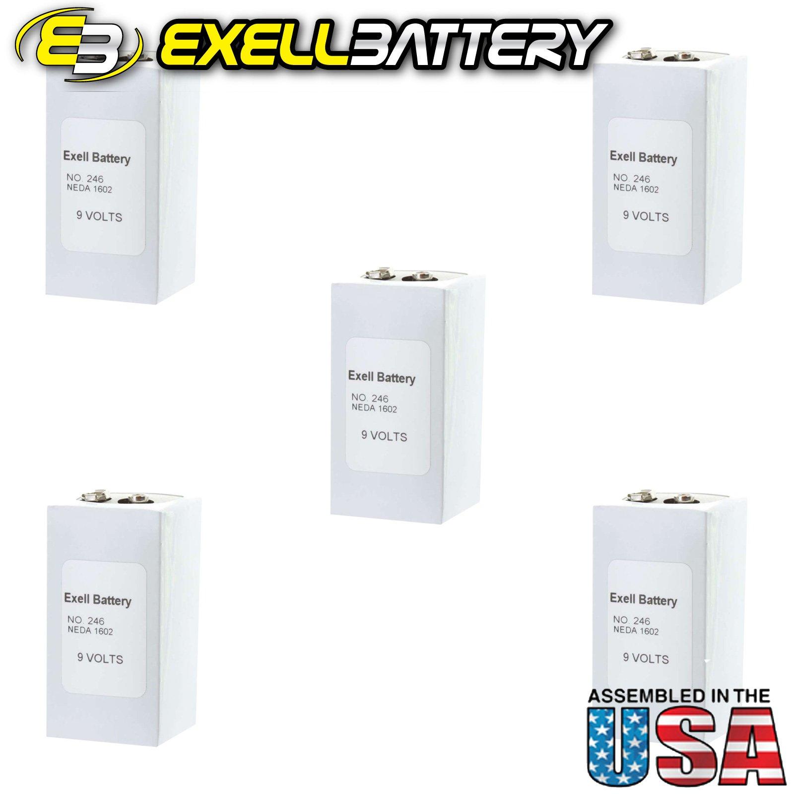 5pc Exell 246 Alkaline 9V Battery NEDA 1602, PP6, 6F50-2