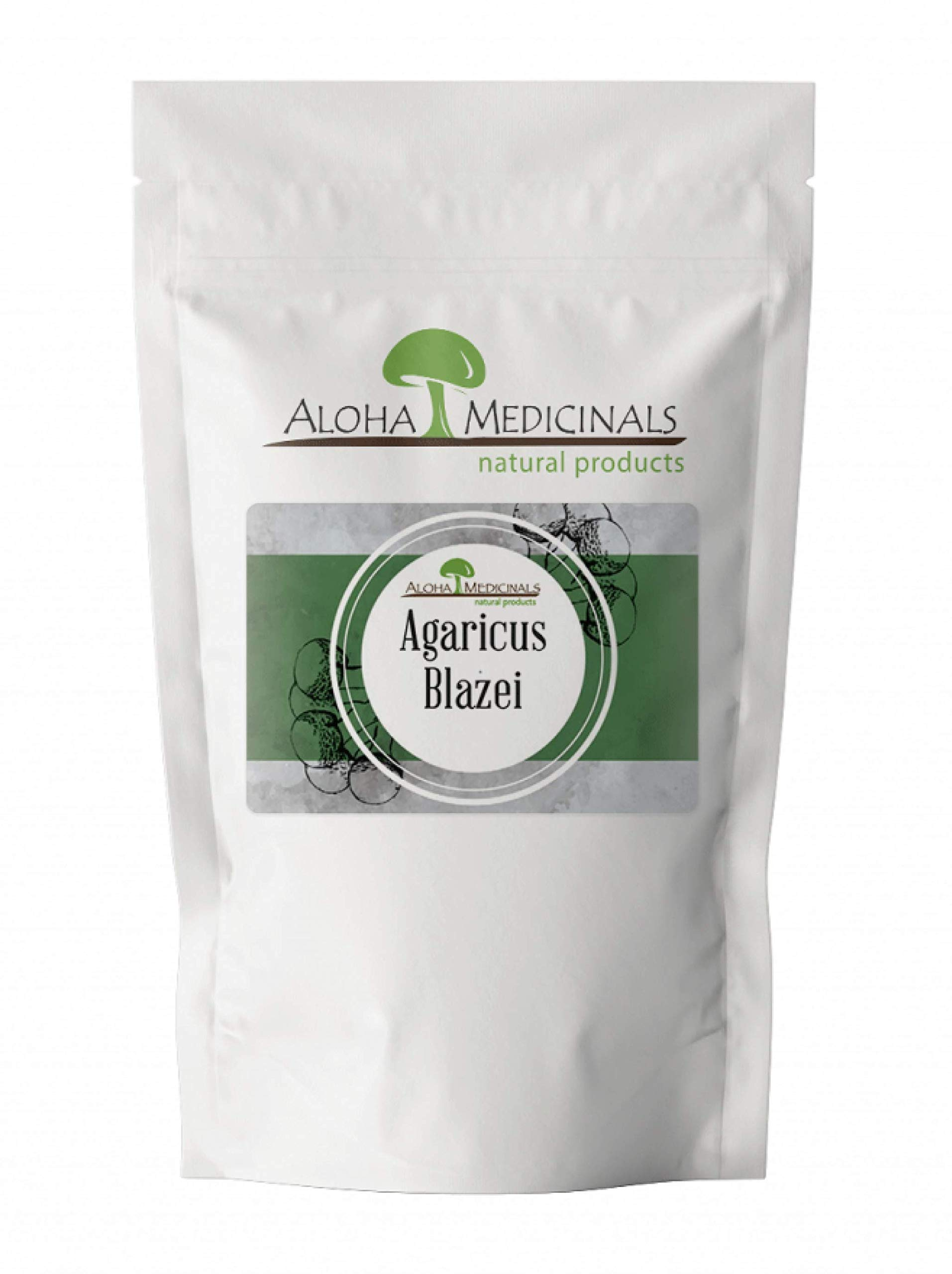 Aloha Medicinals - Pure Agaricus Blazei – Certified Organic Mushroom - Natural Health Supplement – Supports Cardiovascular, Liver, Gut, Joint, Energy Function – Insulin Control - 1 Kilo Bag (Powder)