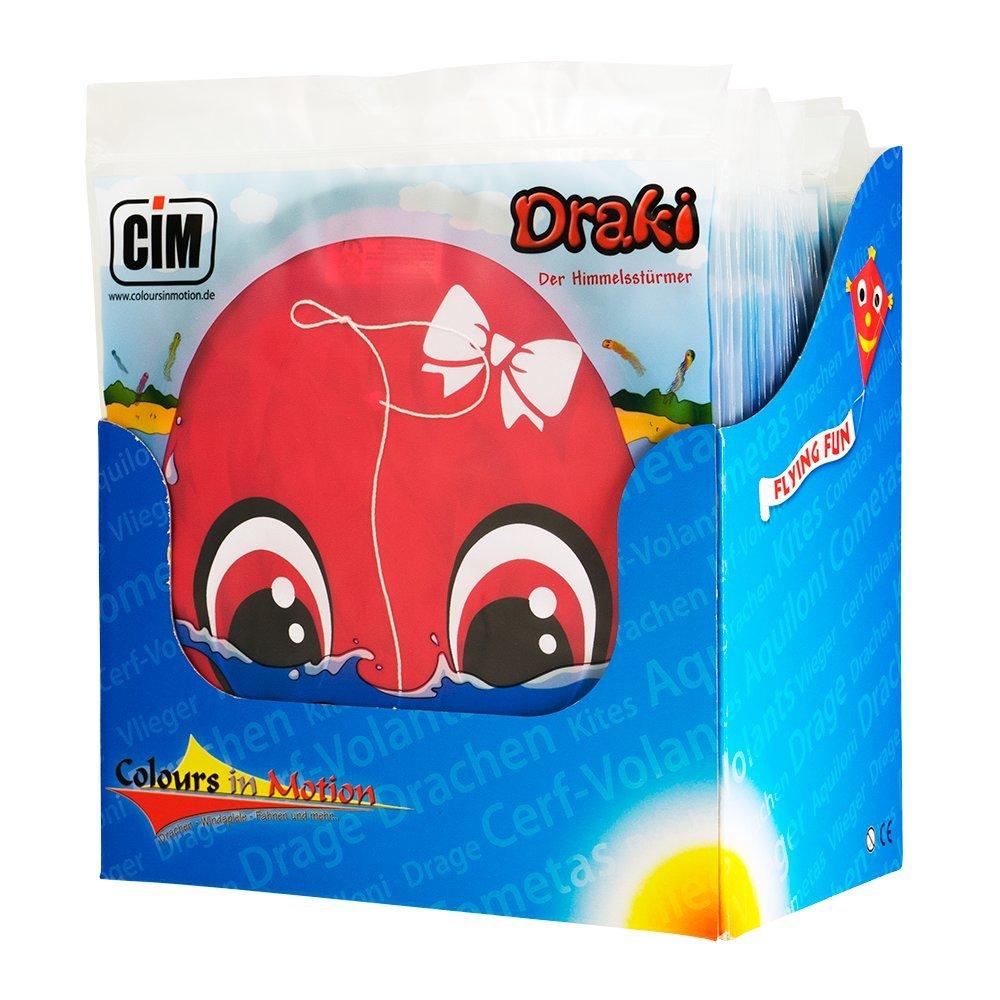 Pulpo Dragón – DRAKI Advance pantalla Set de 24 colores surtidos – Cometas para niños a partir de 3 años – Medidas: por 25 X 160 Cm – Incluye Dragón cordones